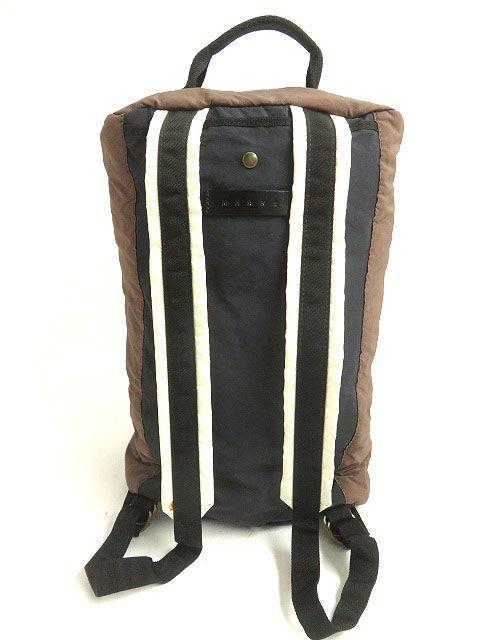 良品◎MARNI マルニ レザー使い 2WAY リュックサック/ミニボストンバッグ ブラウン 正規品 イタリア製 保存袋付き_画像4