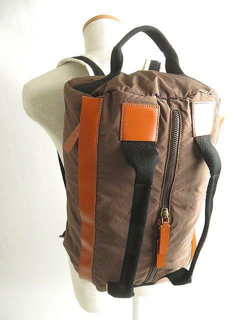 良品◎MARNI マルニ レザー使い 2WAY リュックサック/ミニボストンバッグ ブラウン 正規品 イタリア製 保存袋付き_画像3