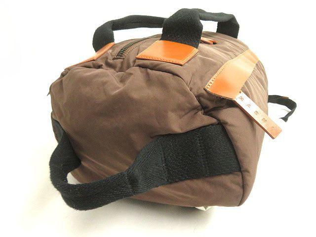 良品◎MARNI マルニ レザー使い 2WAY リュックサック/ミニボストンバッグ ブラウン 正規品 イタリア製 保存袋付き_画像6