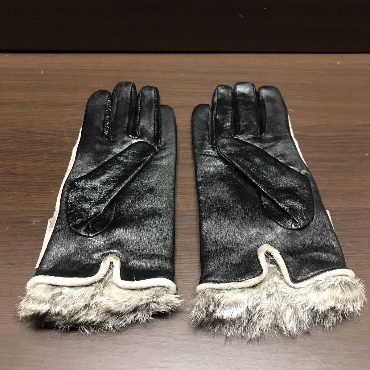 未使用 スマホ操作が出来る手袋 羊革 ラビットファー 小さめ手袋_画像3
