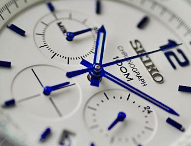 1円×3本 逆輸入セイコー100m防水 クロノグラフ 本革ベルト 腕時計 ホワイト&ブルー SEIKO 新品 未使用 メンズ レザー 1スタ