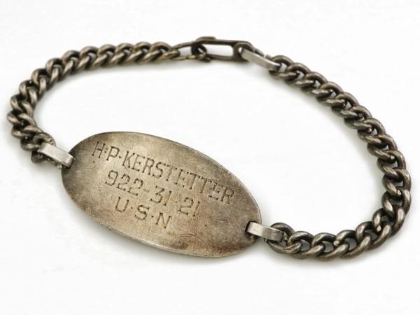 WW2 US NAVY ビンテージ シルバー製 USN ミリタリー チェーン ID ブレスレット 米軍 海軍 アメリカ軍_画像6
