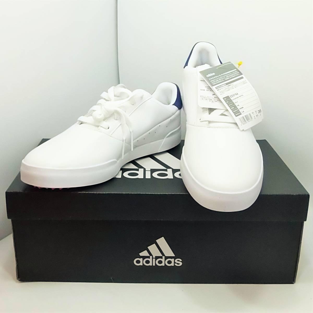 [未使用] アディダス adidas ゴルフ Golf アディクロス レトロ ホワイト×ブルー 26.5cm 外箱・タグ付き_画像1
