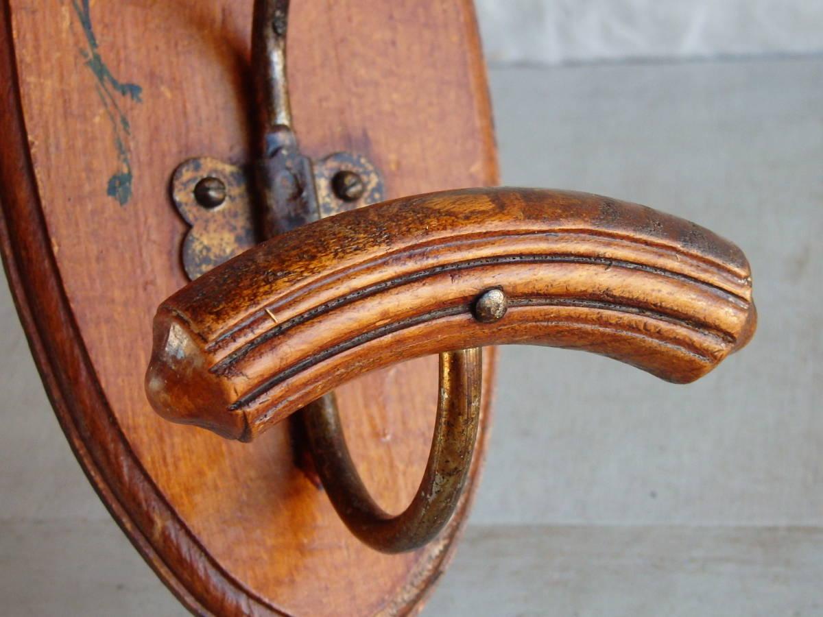 フランスアンティーク 壁掛け コートフック ハンガー 什器 ディスプレイ 雑貨 古木 木製 蚤の市 ウォール 帽子 フック 仏_画像7