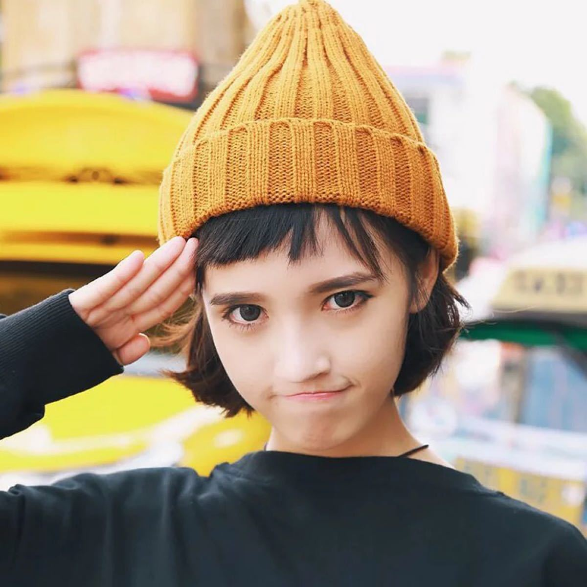 ニット帽 ニットキャップ ビーニー 黒 ブラック 韓国