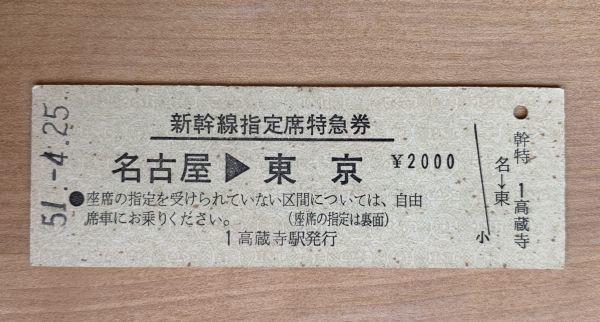 硬券 新幹線指定席特急券 名古屋→東京 昭和51年 No.1077 高蔵寺駅発行_画像1