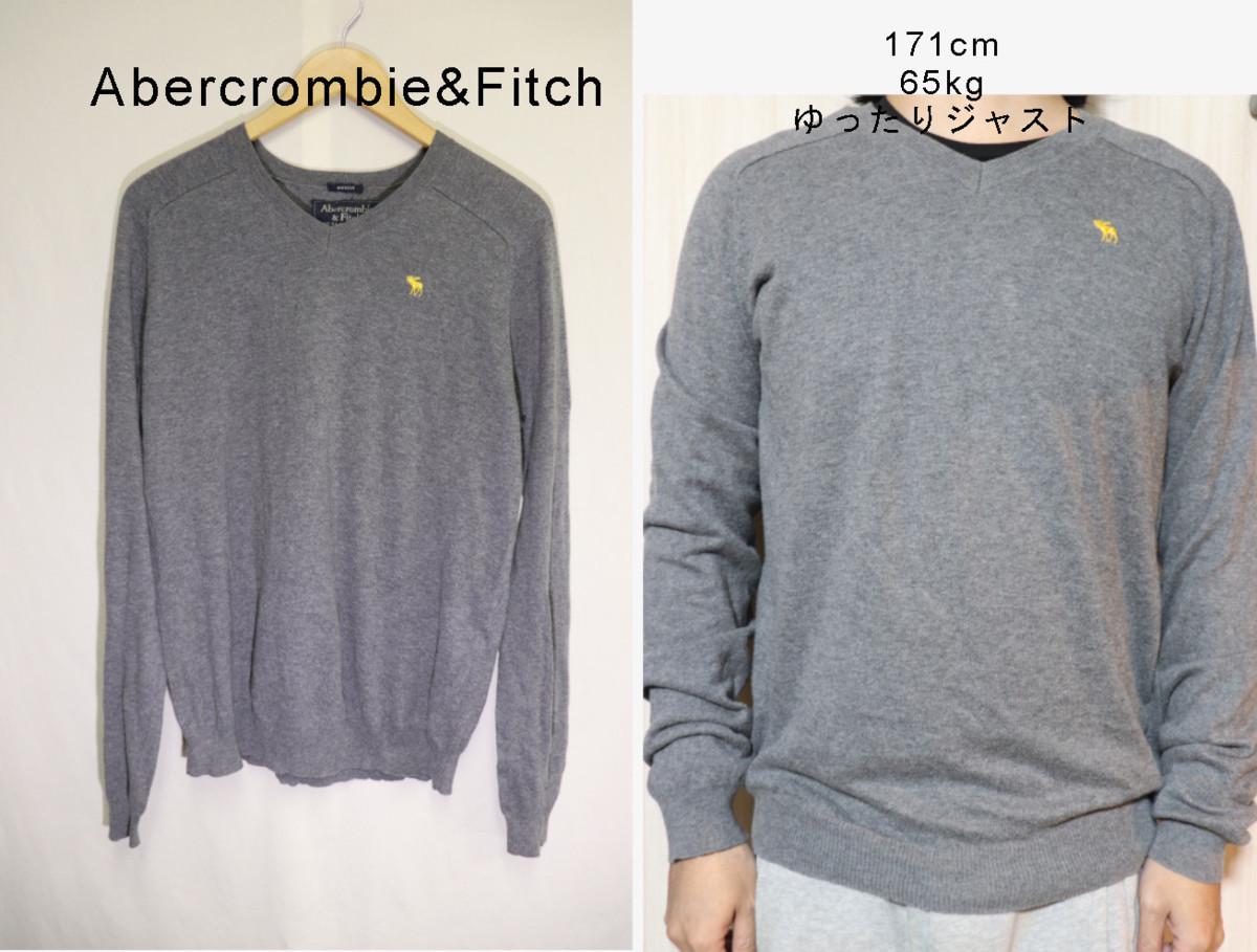 【メンズ】Abercrombie&Fitchニットセーター/アバクロ老舗アメカジグレイシンプルM_画像1