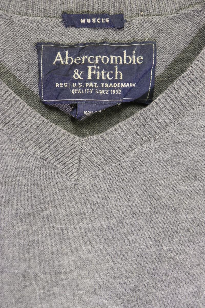 【メンズ】Abercrombie&Fitchニットセーター/アバクロ老舗アメカジグレイシンプルM_画像5