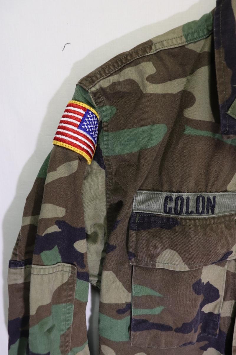 【メンズ】米軍ウッドランドミリタリージャケットAIR BORME/USAカモフラ良品ワッペン実物♪S_画像3