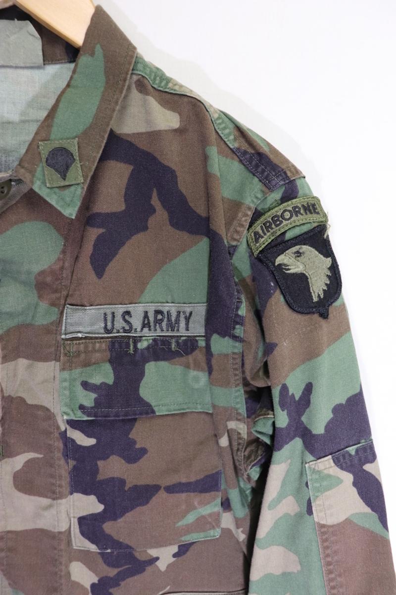 【メンズ】米軍ウッドランドミリタリージャケットAIR BORME/USAカモフラ良品ワッペン実物♪S_画像4