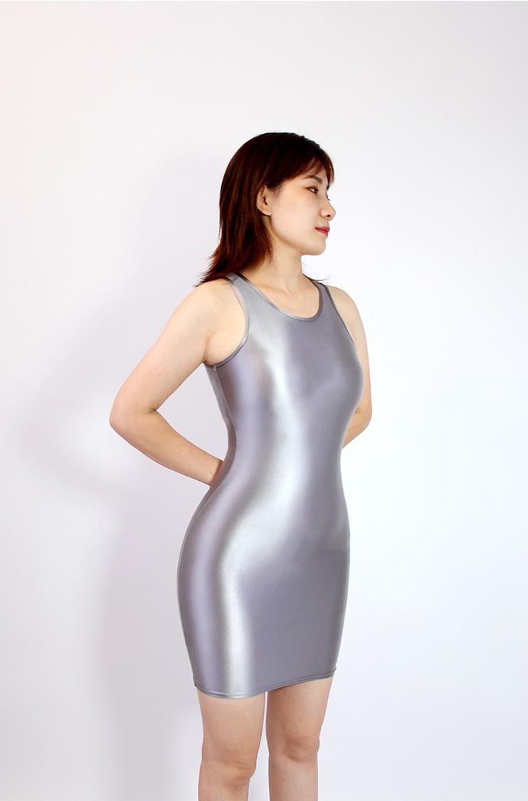 【2020秋最新作】コスプレ衣装 ワンピースドレス 伸縮性あり レースクイーンレオタード グレー Mサイズ_画像1
