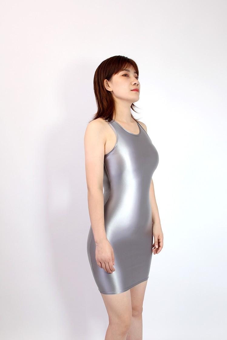 【2020秋最新作】コスプレ衣装 ワンピースドレス 伸縮性あり レースクイーンレオタード グレー Mサイズ_画像2