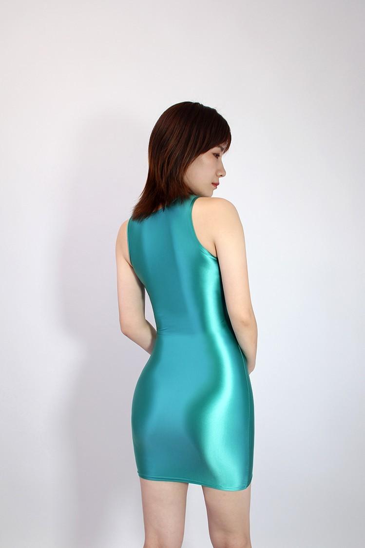 【2020秋最新作】コスプレ衣装 ワンピースドレス 伸縮性あり レースクイーンレオタード ブルー Mサイズ_画像2