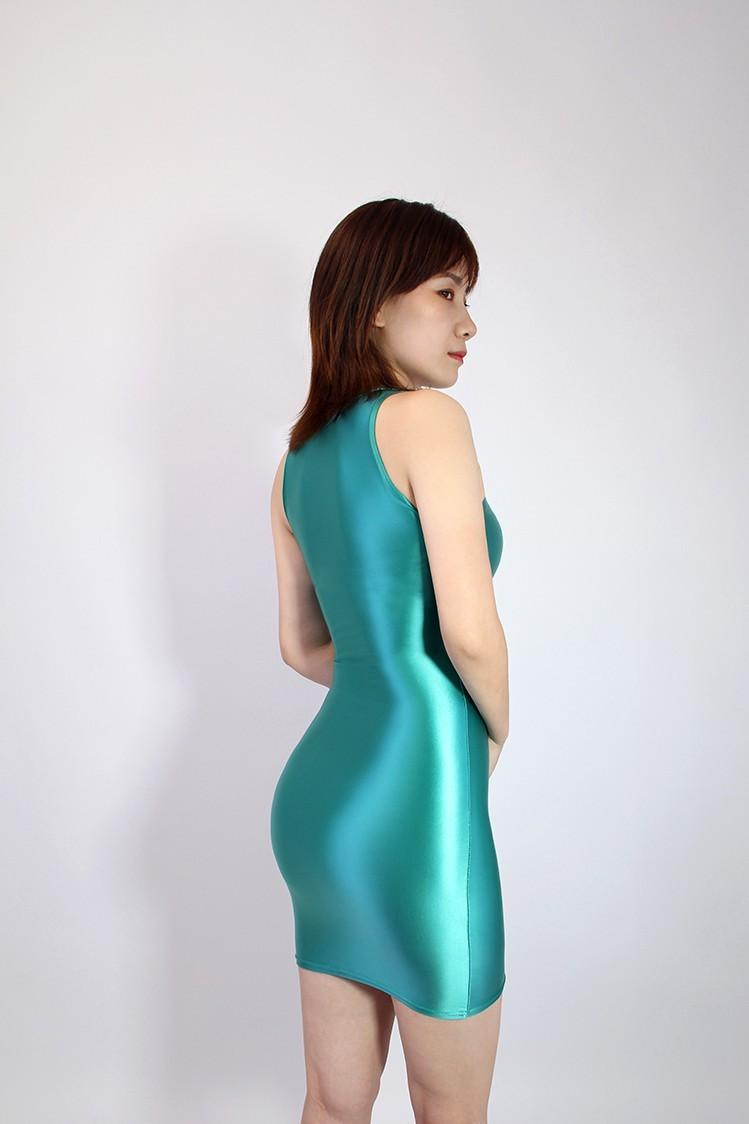 【2020秋最新作】コスプレ衣装 ワンピースドレス 伸縮性あり レースクイーンレオタード ブルー Mサイズ_画像4