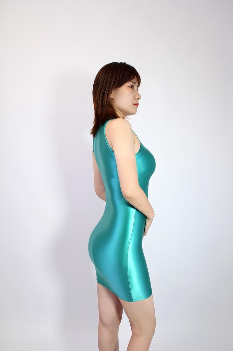【2020秋最新作】コスプレ衣装 ワンピースドレス 伸縮性あり レースクイーンレオタード ブルー Mサイズ_画像3