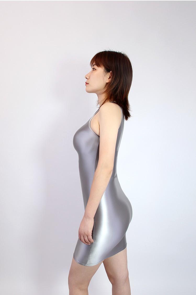 【2020秋最新作】コスプレ衣装 ワンピースドレス 伸縮性あり レースクイーンレオタード グレー Mサイズ_画像3