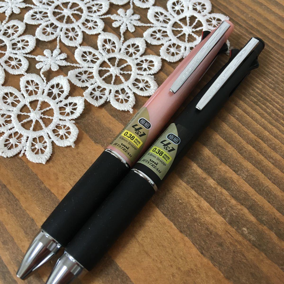 新品  極細  0.38mm 4&1 日本製 ジェットストリーム ボールペン uni 2本まとめ売り 送料140円  ベビーピンク  ブラック_画像1