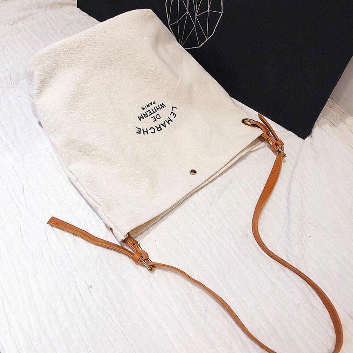 トートバッグ  キャンバス バッグ 韓国 ファッション ショルダーバッグ 白