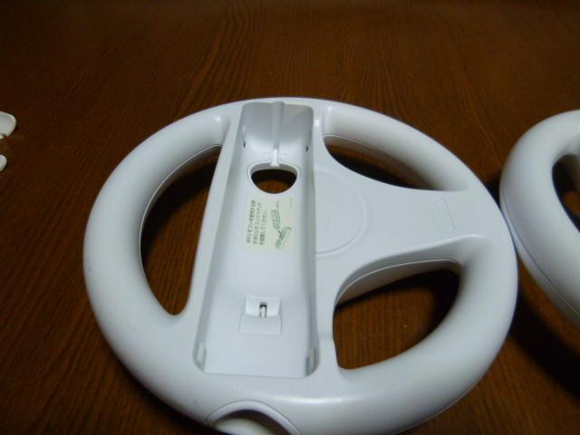 HR096【即日発送 送料無料】Wii ハンドル リモコン 2個セット ホワイト (動作良好 クリーニング済)白  NINTENDO 任天堂 純正