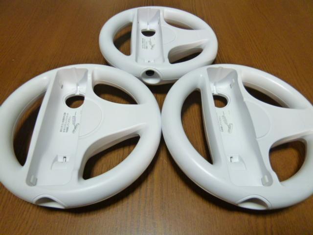 HR077【送料無料】Wii マリオカート ハンドル リモコン ストラップ 3個セット ホワイト (動作良好 クリーニング済)白 任天堂 純正