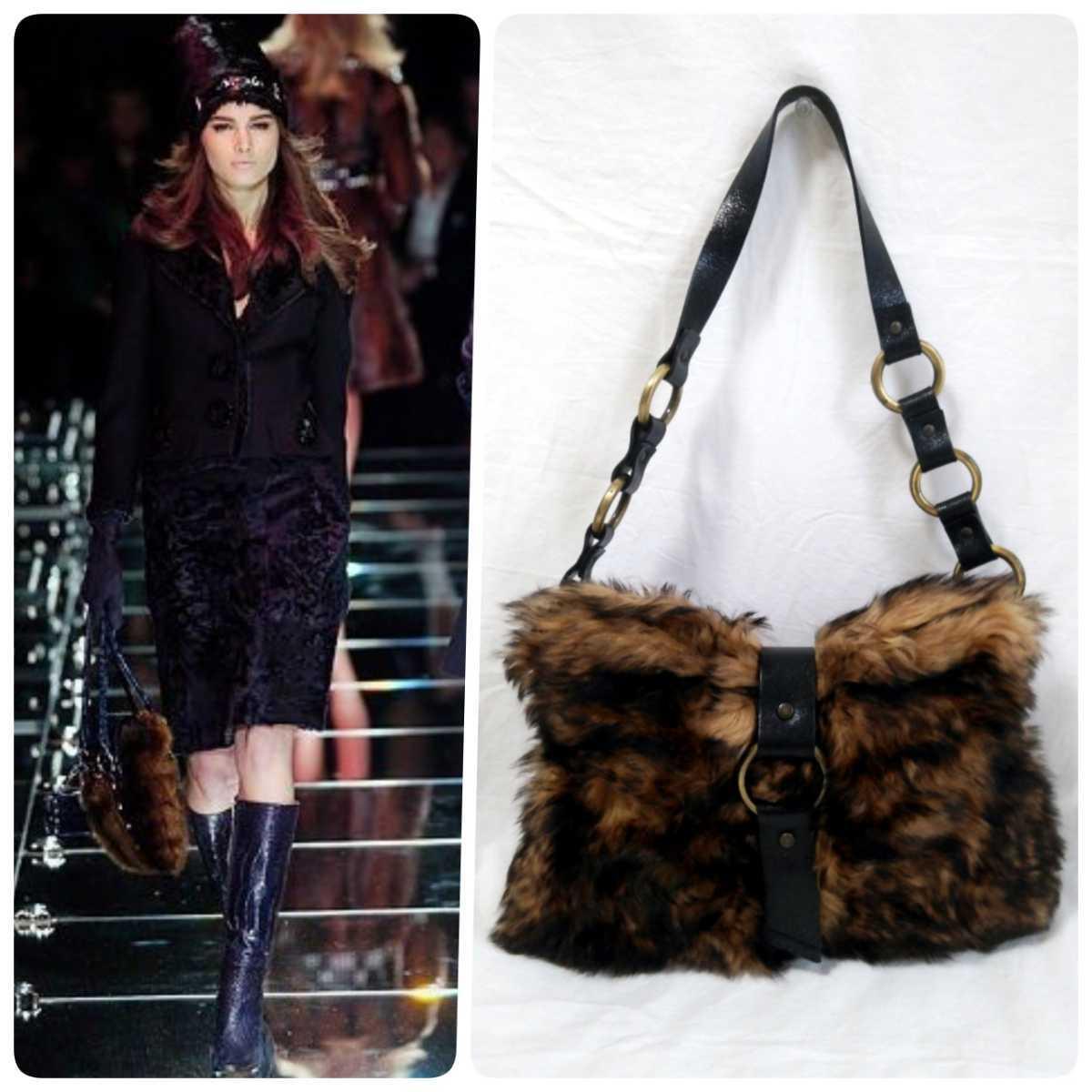 Dolce & GABBANA Dolce & Gabbana حقيبة يد جلد فرو حقيقية Dolce & Gabbana & Bag ، حقيبة