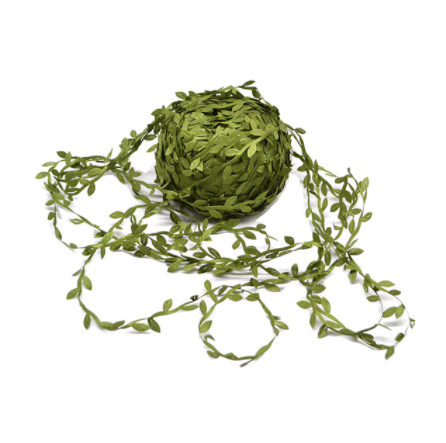 2B2664:造花 シルクフラワー 人工緑の葉 結婚式の装飾 10メートルの絹の葉 手作り DIY リースギフト スクラップブッキングクラフト_グリーン