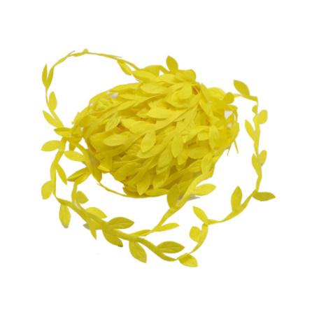 2B2664:造花 シルクフラワー 人工緑の葉 結婚式の装飾 10メートルの絹の葉 手作り DIY リースギフト スクラップブッキングクラフト_イエロー