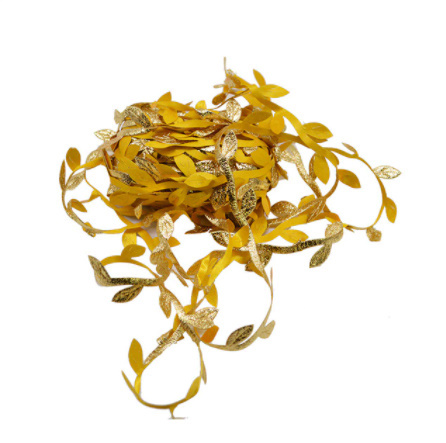2B2664:造花 シルクフラワー 人工緑の葉 結婚式の装飾 10メートルの絹の葉 手作り DIY リースギフト スクラップブッキングクラフト_ゴールド