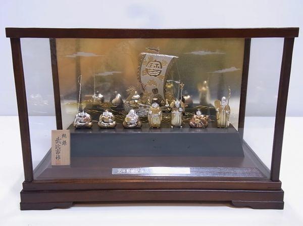 ◆◇関武比古 作 宝船 純銀製 銀船 置物 縁起物 七福神 TAKEHIKO 刻印有 ガラスケース入り◇◆