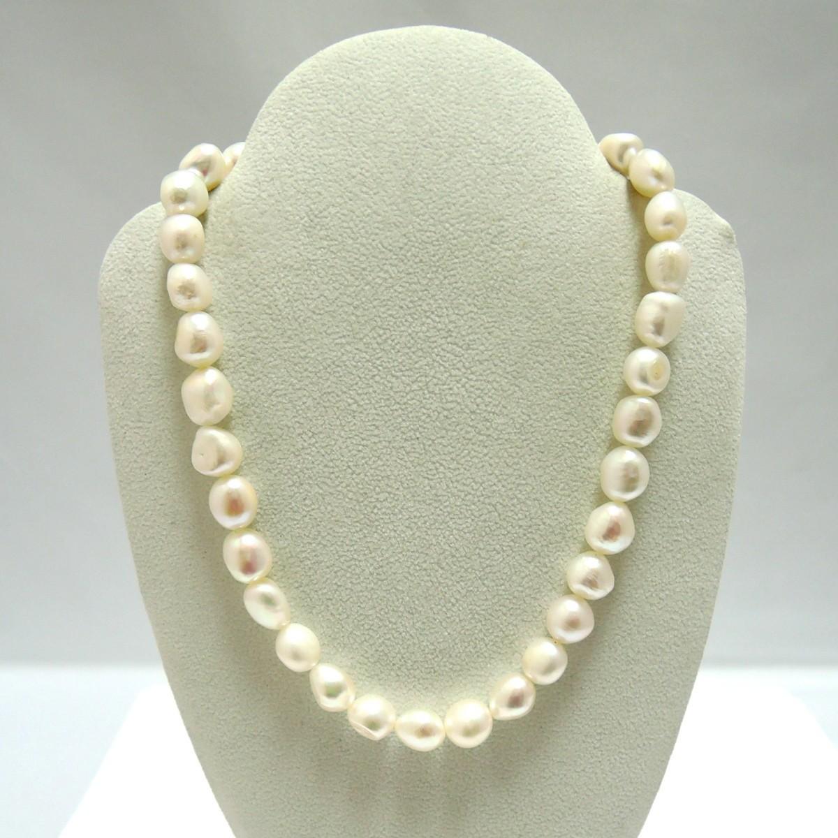 田崎真珠/TASAKI 本真珠 パールネックレス ダイヤ 刻印:0.02 約10mm前後 首回り約40cm FS_画像2