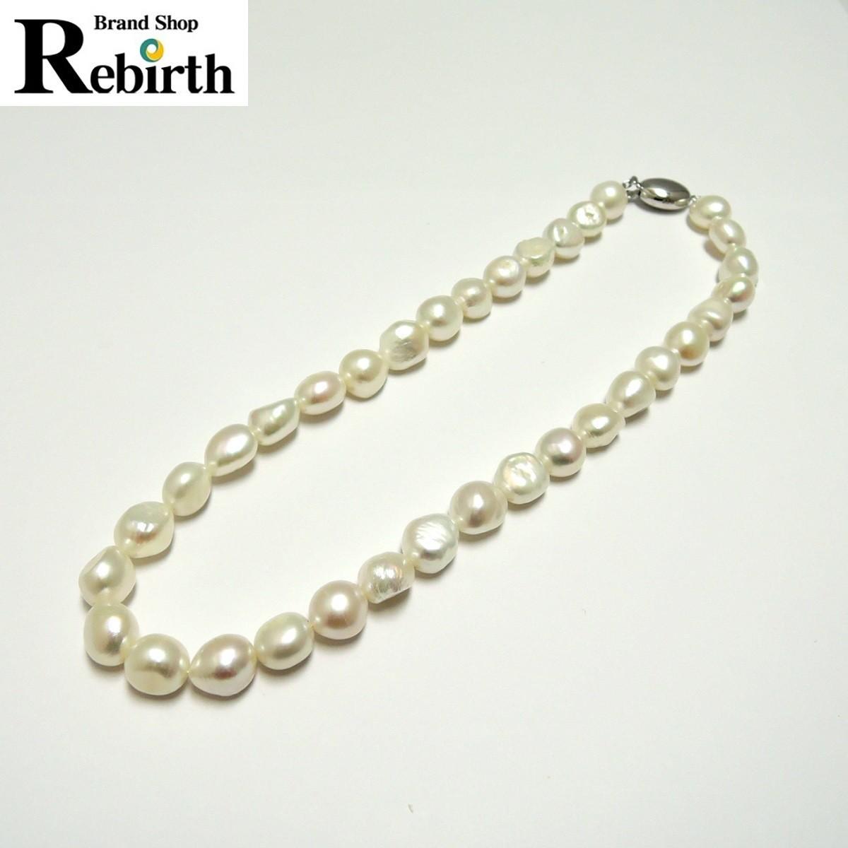 田崎真珠/TASAKI 本真珠 パールネックレス ダイヤ 刻印:0.02 約10mm前後 首回り約40cm FS_画像1