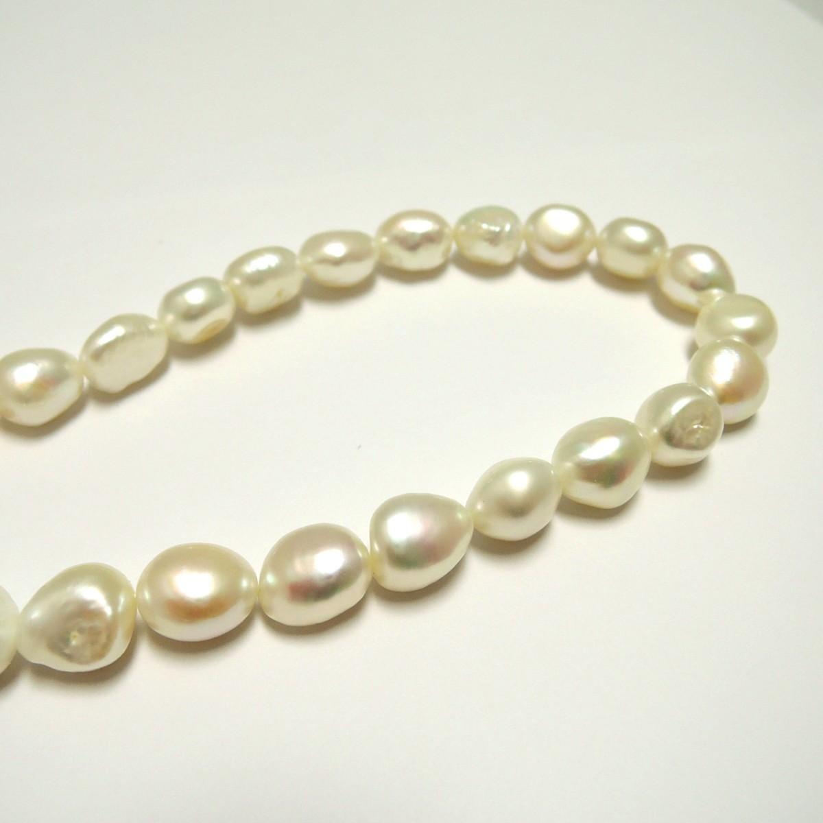 田崎真珠/TASAKI 本真珠 パールネックレス ダイヤ 刻印:0.02 約10mm前後 首回り約40cm FS_画像4