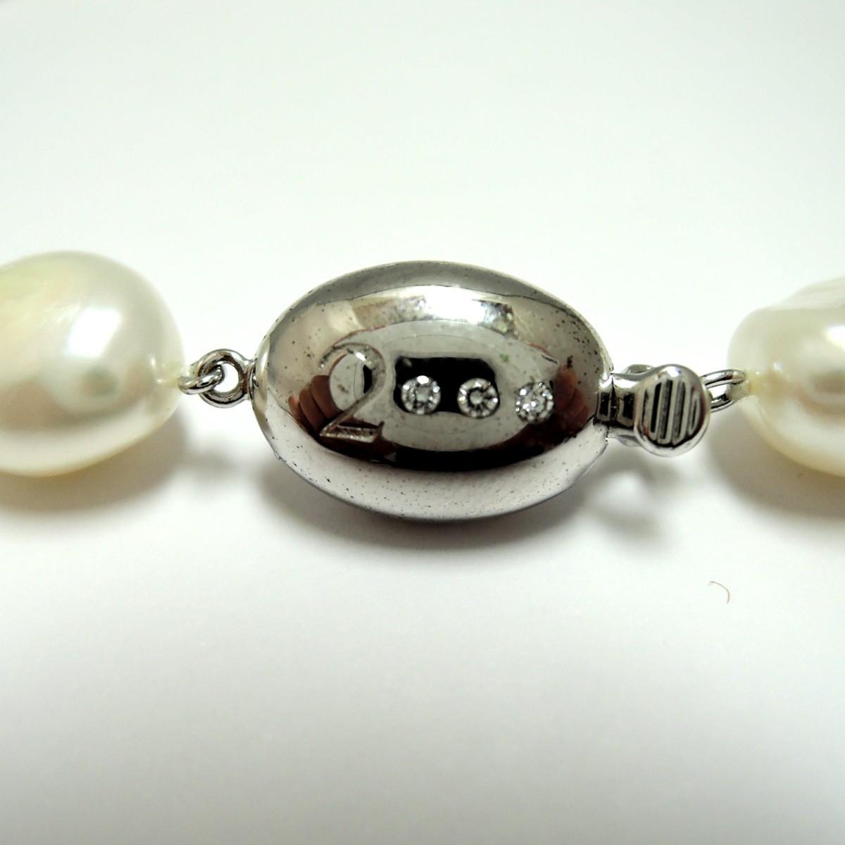 田崎真珠/TASAKI 本真珠 パールネックレス ダイヤ 刻印:0.02 約10mm前後 首回り約40cm FS_画像6