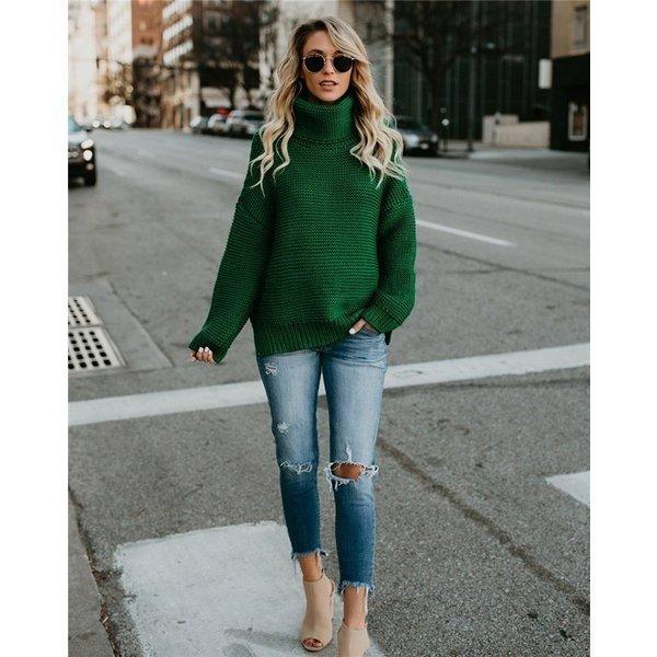 ニット レディース セーター ニットセーター秋 トップス カットソー 長袖 着痩せ 長袖 ゆったり ニットウェア ハイネック セーター 30代