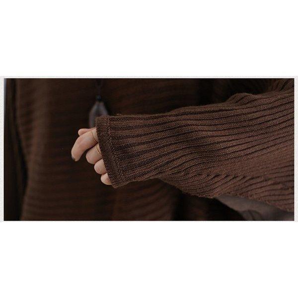 ニット セーター レデース 秋 冬 ドルマンスリーブ トップス 切り替え カットソー ゆったり カジュアル 着痩せ 大きいサイズ 上品 大人 母
