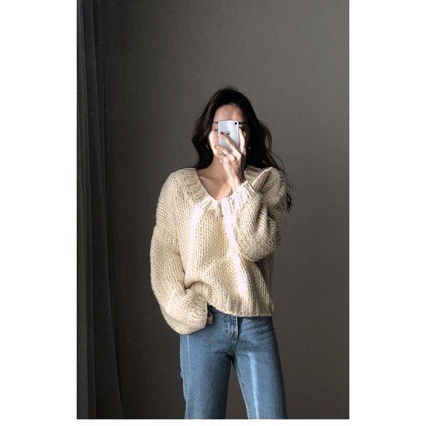 ニットセーター レディース ゆったり セーター ローゲージニット Vネック レトロ 女性用 ニットトップス プルオーバー 長袖 オシャレ :zac