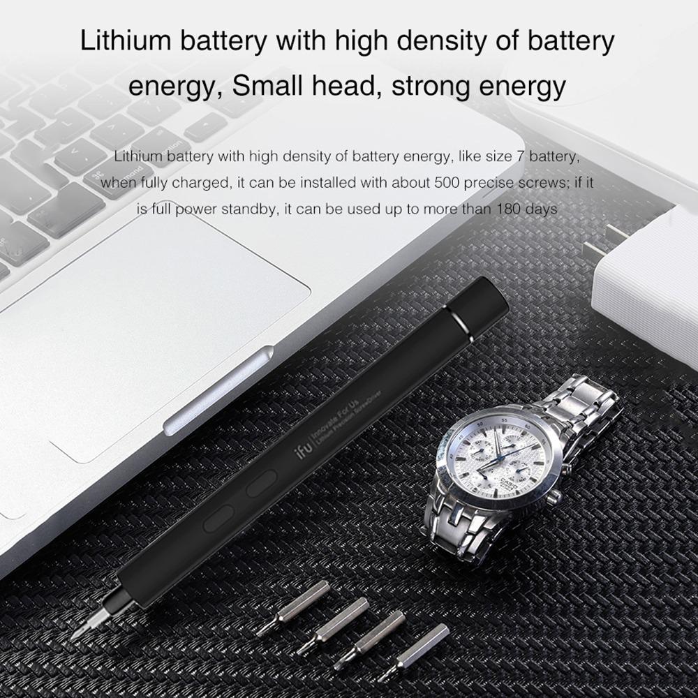 新品● ペン型 精密 ミニ電動ドライバー 充電式 リチウム電池式 コードレス モーター駆動式 ワンタッチ操作 LED キット_画像3