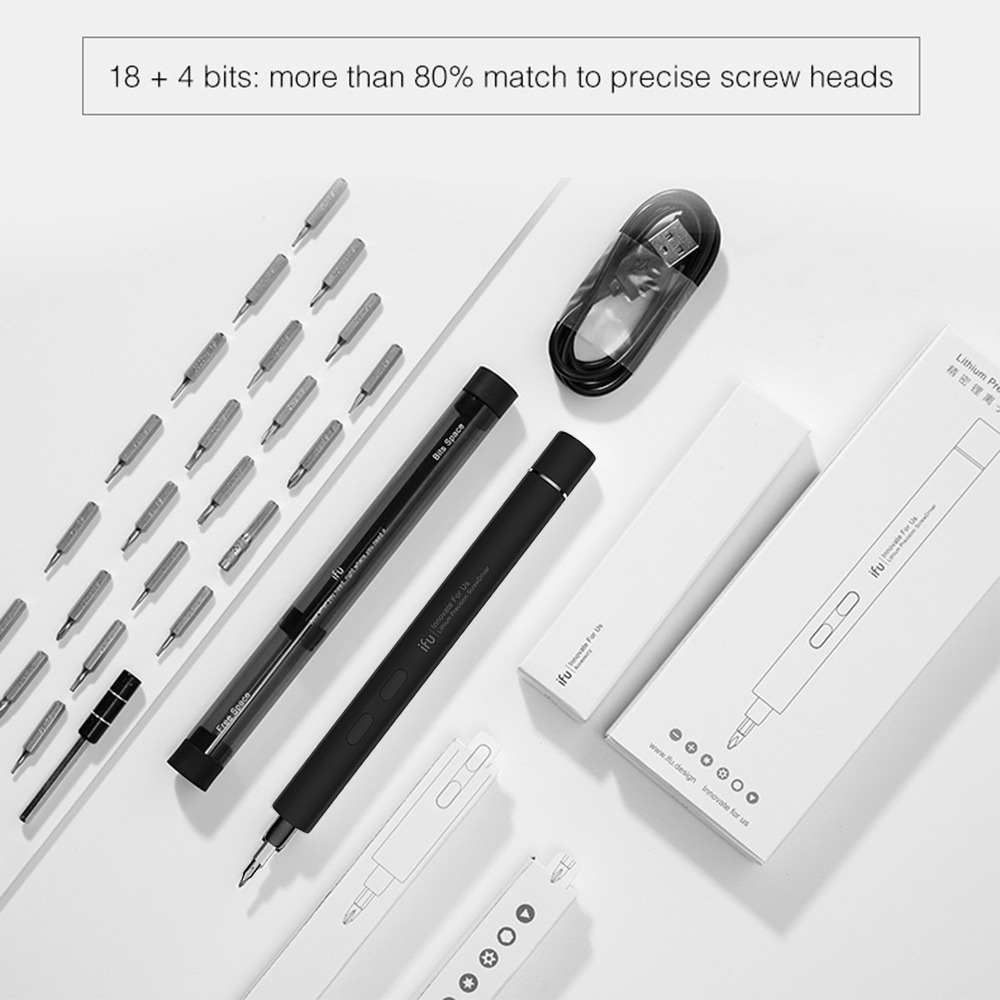 新品● ペン型 精密 ミニ電動ドライバー 充電式 リチウム電池式 コードレス モーター駆動式 ワンタッチ操作 LED キット_画像4