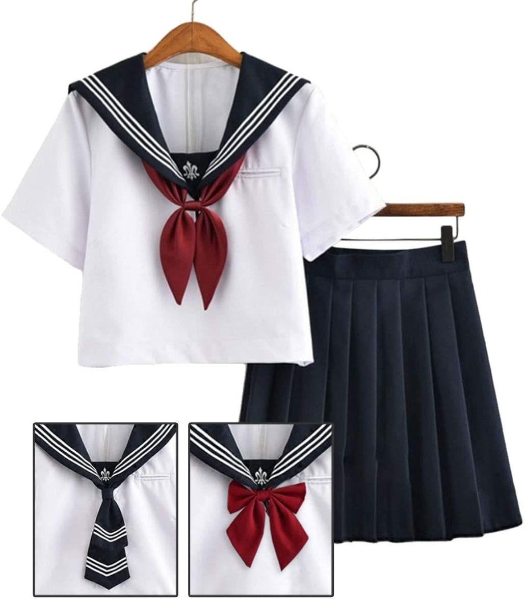 セーラー服コスプレ女子高生制服コスチューム白紺赤XLサイズ半袖×ミニスカート_画像1