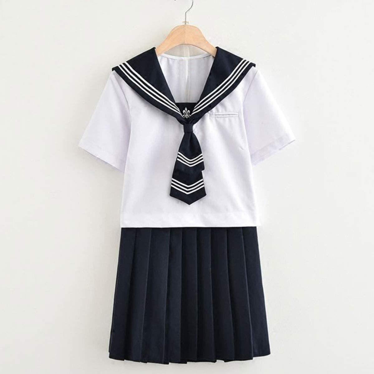 セーラー服コスプレ女子高生制服コスチューム白紺赤XLサイズ半袖×ミニスカート_画像3