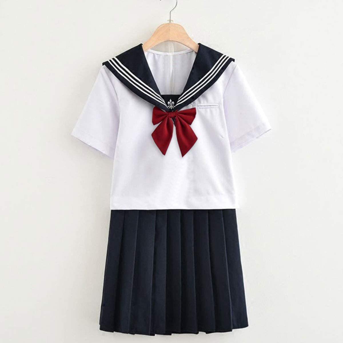 セーラー服コスプレ女子高生制服コスチューム白紺赤XLサイズ半袖×ミニスカート_画像4