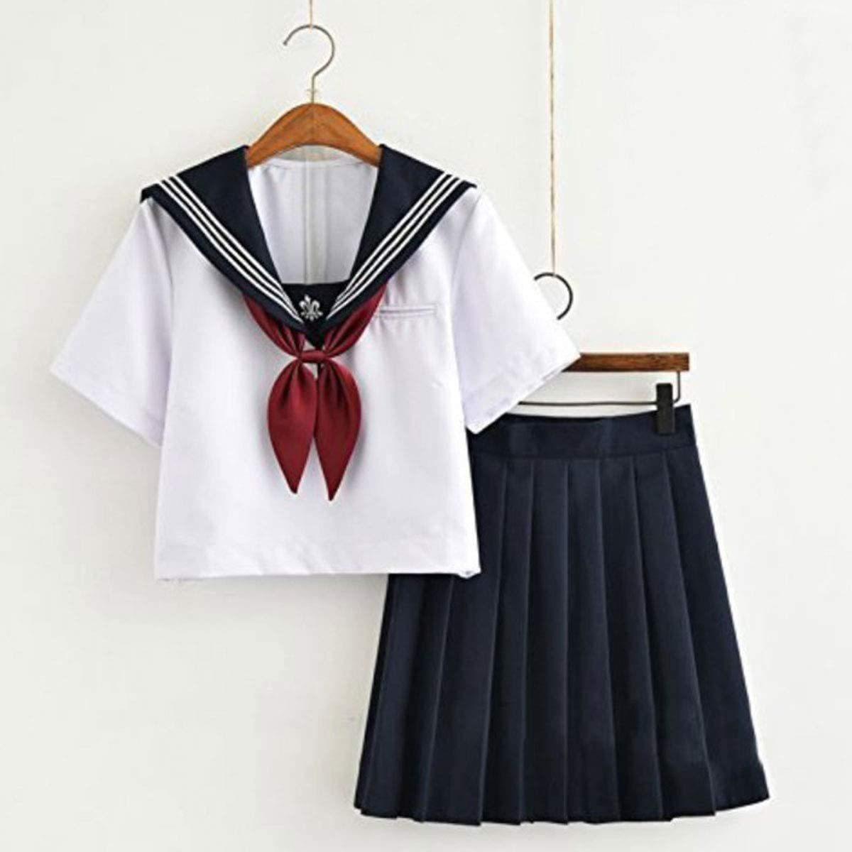 セーラー服 半袖 白+ネイビー コスプレ 本格制服 4点セット(M.白+ネイビー)_画像1