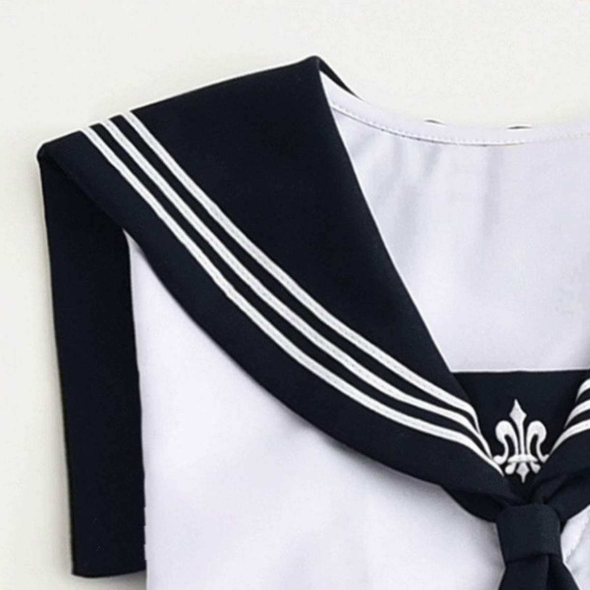 セーラー服 半袖 白+ネイビー コスプレ 本格制服 4点セット(M.白+ネイビー)_画像3