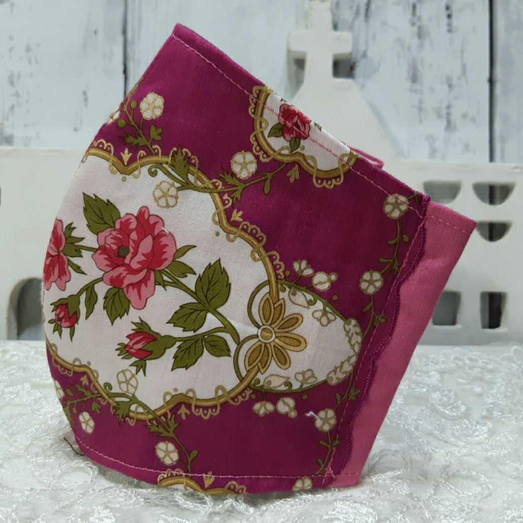 大きめ アナスイ ANNA SUI ピンク 新品花柄ハンカチ使用 インナーマスク オフ白ダブルガーゼ ハンドメイド _画像1