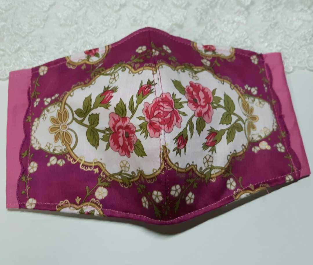 大きめ アナスイ ANNA SUI ピンク 新品花柄ハンカチ使用 インナーマスク オフ白ダブルガーゼ ハンドメイド _画像4