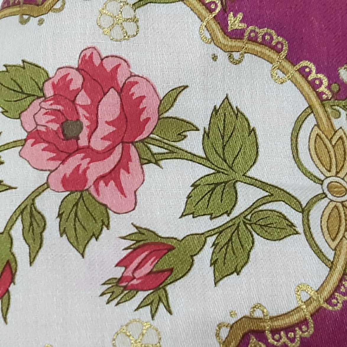 大きめ アナスイ ANNA SUI ピンク 新品花柄ハンカチ使用 インナーマスク オフ白ダブルガーゼ ハンドメイド _画像6