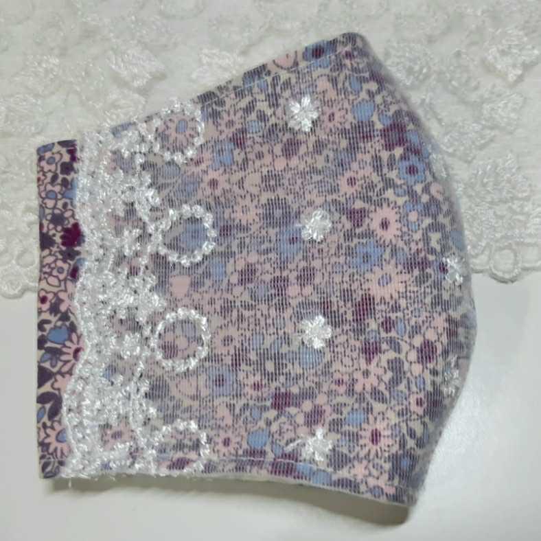 花模様チュールレース ピンク紫小花模様コットン インナーマスク ダブルガーゼ ハンドメイド _画像3