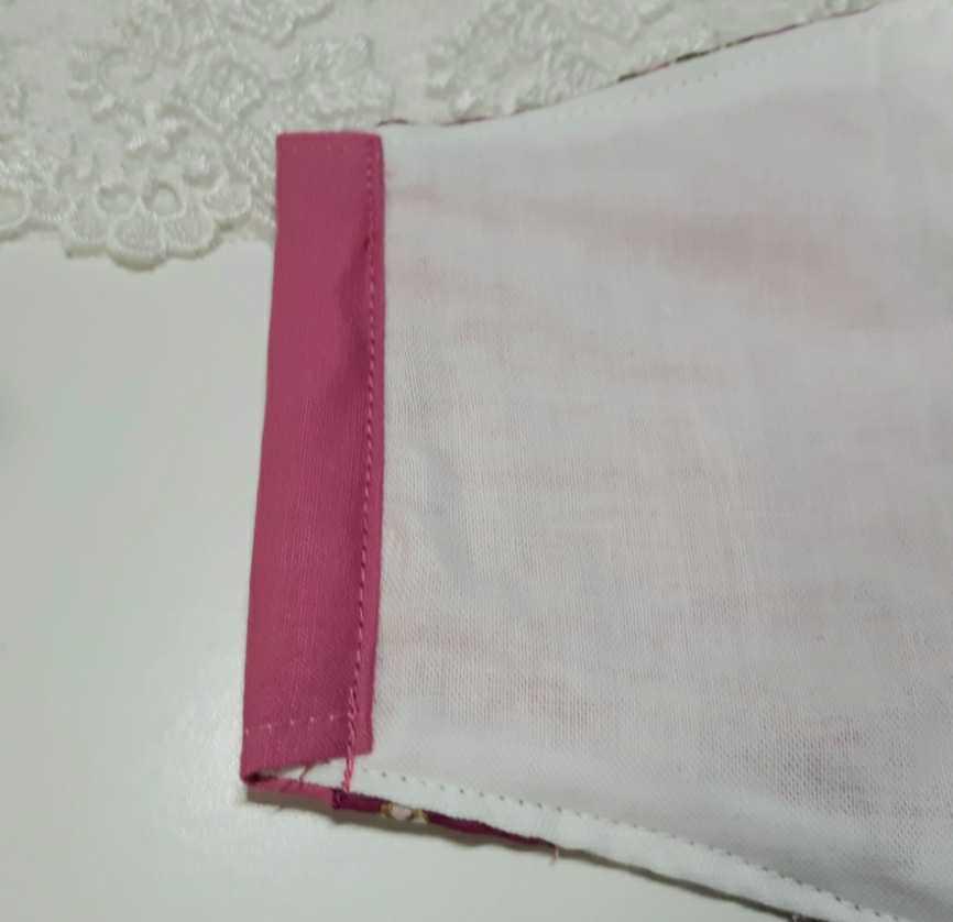 大きめ アナスイ ANNA SUI ピンク 新品花柄ハンカチ使用 インナーマスク オフ白ダブルガーゼ ハンドメイド _画像5