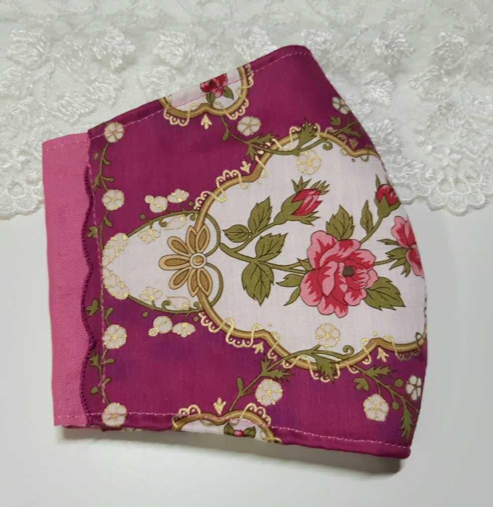 大きめ アナスイ ANNA SUI ピンク 新品花柄ハンカチ使用 インナーマスク オフ白ダブルガーゼ ハンドメイド _画像3