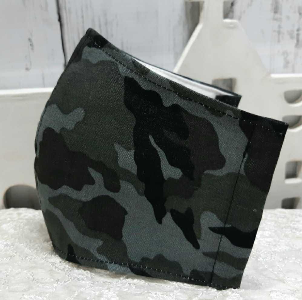 黒 グレー 迷彩柄 立体インナーマスク コットン 綿 ダブルガーゼ ハンドメイド _画像1